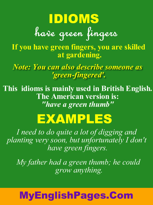 What does have green fingers mean?